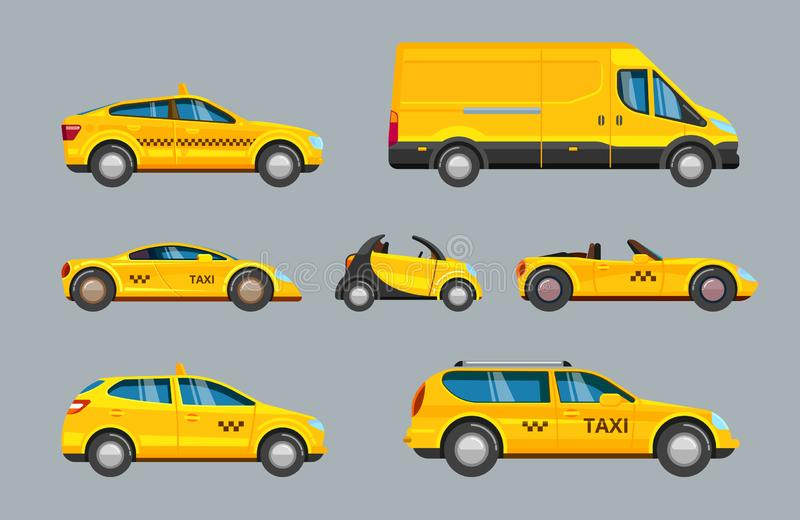 Taxi cars. collection of service yellow cab transport. Chose your personal urban car in city uber checkers vector vehicle big set isolated royalty free illustration
