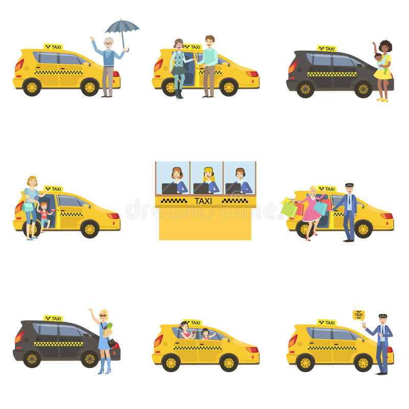 Taxi Cars, Drivers And Clients Set stock illustration