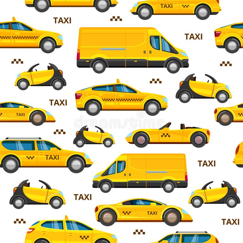 Taxi cars seamless pattern. collection of service yellow cab transport. Taxi cars pattern. Collection of service yellow cab transport chose your personal urban vector illustration