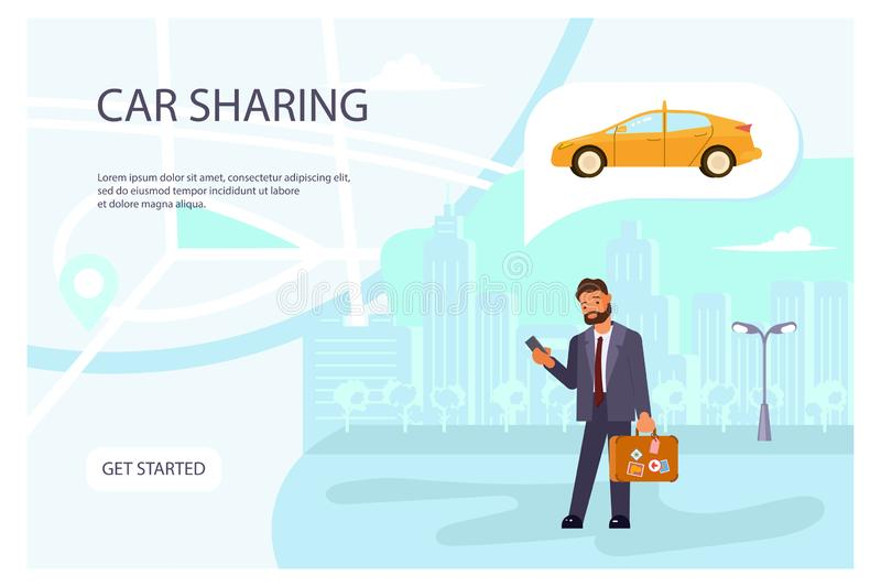 Carsharing page website template royalty free illustration