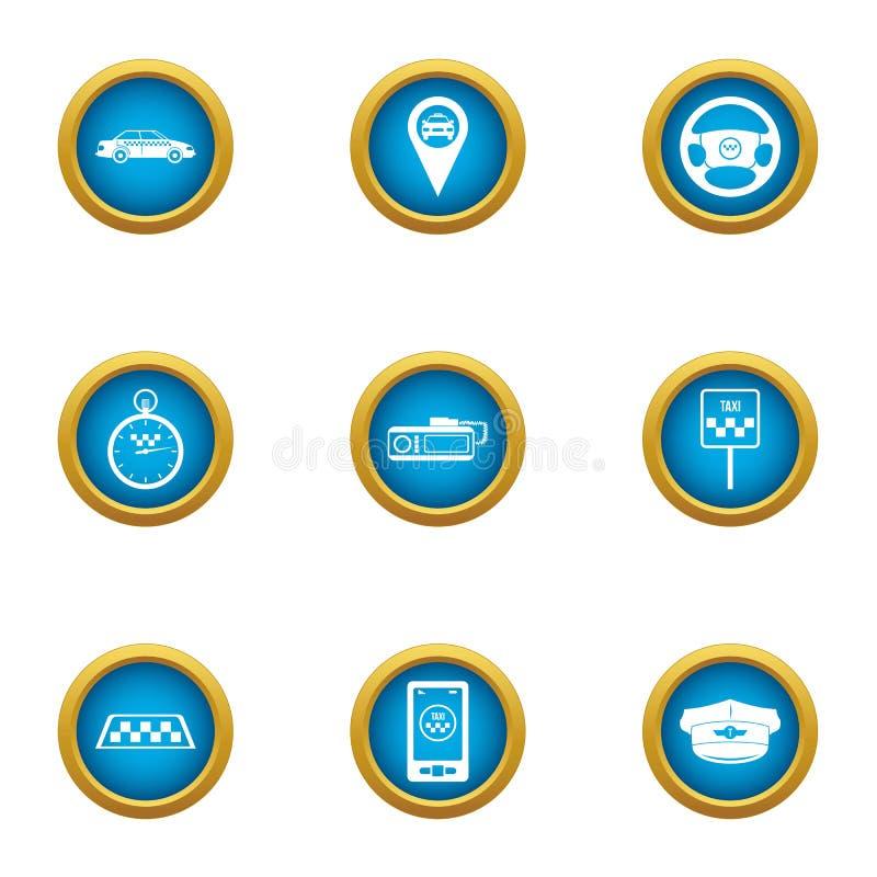 Taxi centrum ikony ustawiać, mieszkanie styl ilustracja wektor