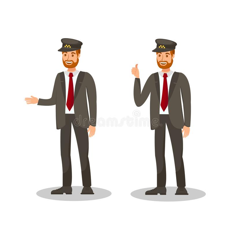 Taxi Chauffeur Flat Vector Cartoon Illustration. Taxi Chauffeur Flat Vector Illustration. Happy Driver Showing Thumbs up Isolated Cartoon Character. Smiling Cab stock illustration