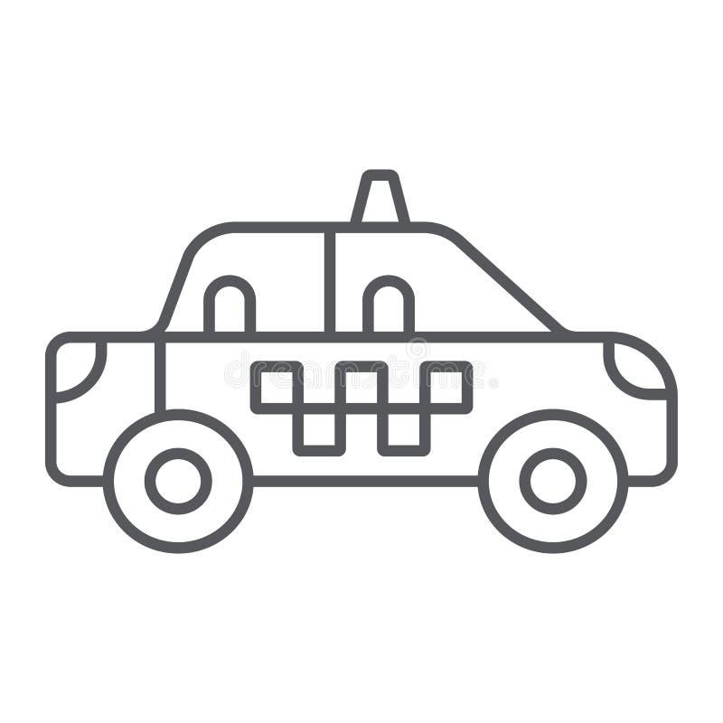 Taxi cienka kreskowa ikona, transport i samochód, taksówka znak, wektorowe grafika, liniowy wzór na białym tle ilustracji