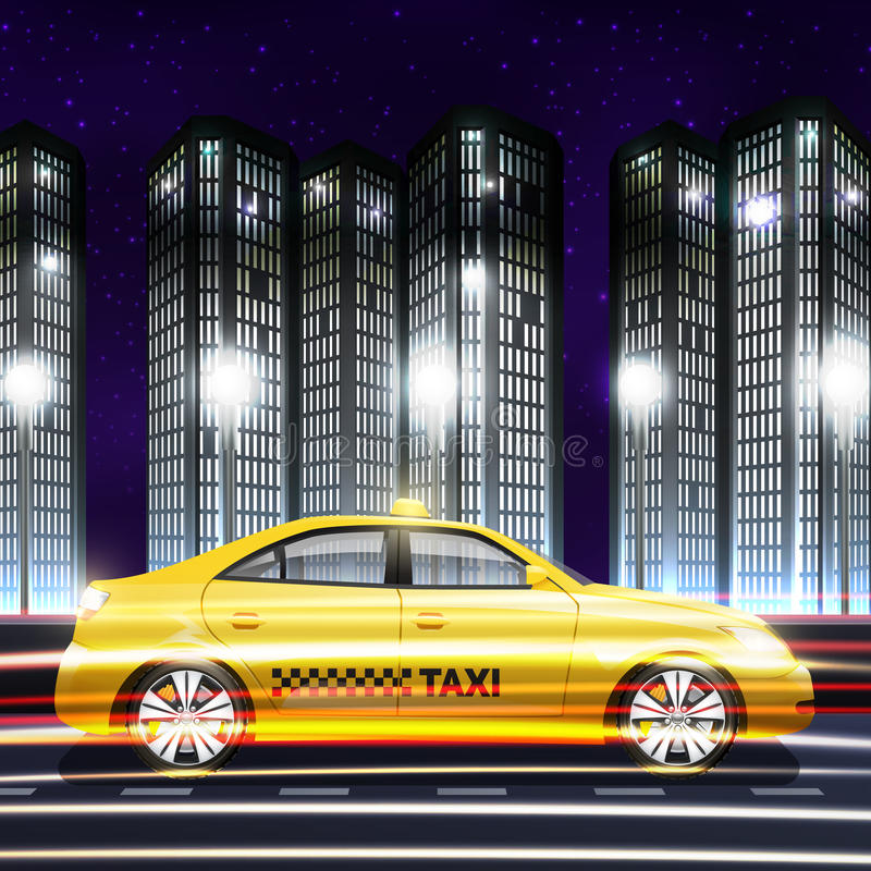 Taxi In City Background vector illustration