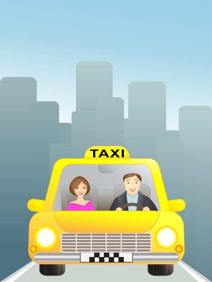 Taxi con el pasajero en ciudad grande libre illustration
