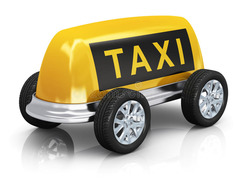 Taxi concept. Creative taxi concept: car from yellow taxi roof sign and wheels isolated on white background with reflection effect stock illustration