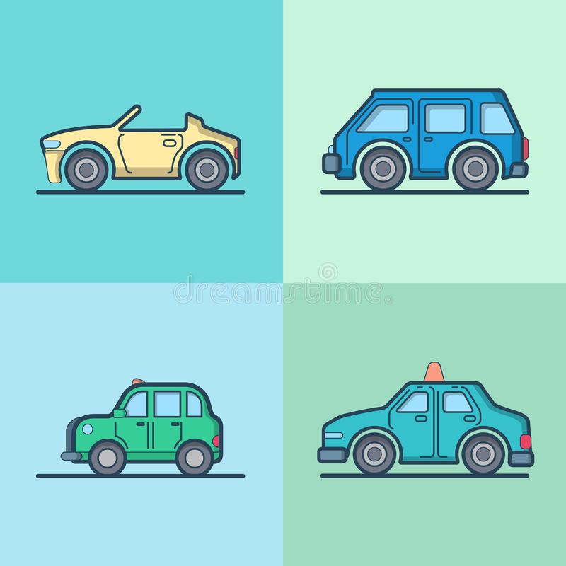 Taxi convertible del cabriolé del automóvil del coche mini ilustración del vector