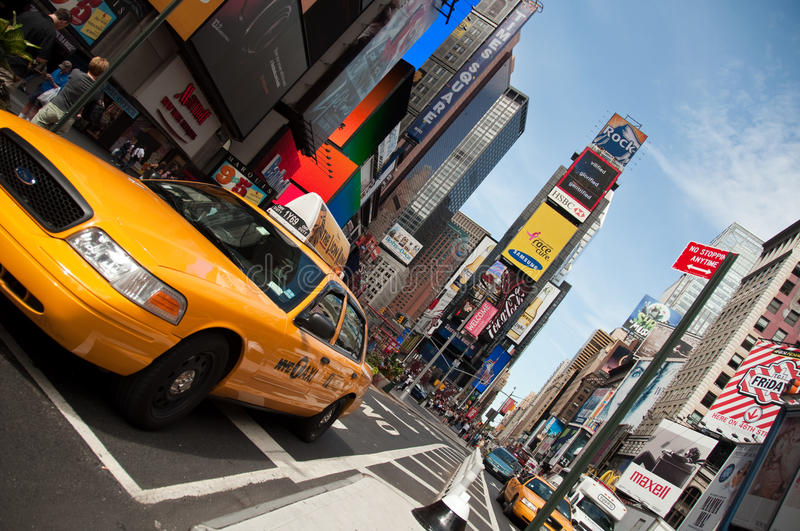 Taxi de NYC, Times Square images stock