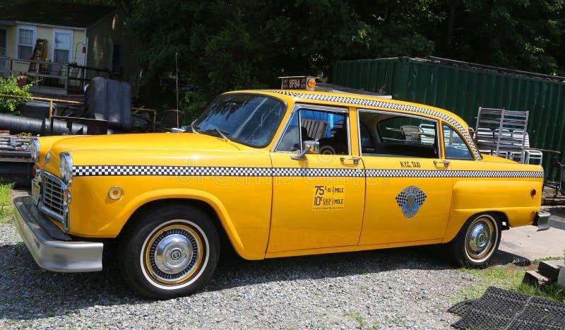 Taxi del inspector producido por el Checker Motors Corporation en Hewitt, NJ fotografía de archivo