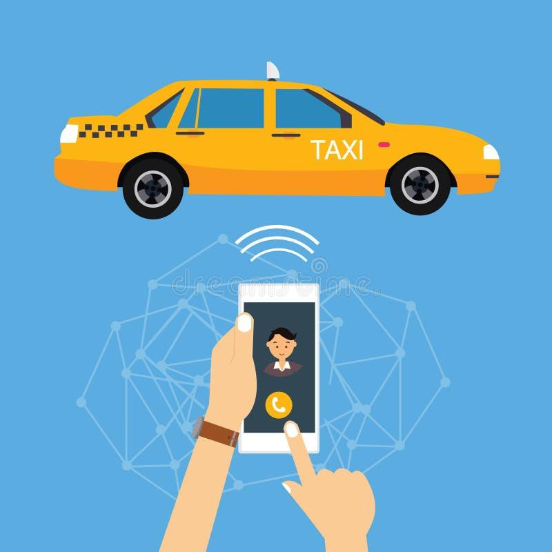 Taxi di chiamata dall'applicazione del telefono cellulare online royalty illustrazione gratis