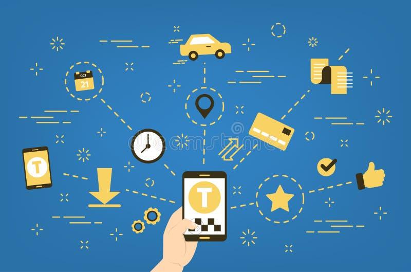 Taxi die online geleidelijke gids boeken royalty-vrije illustratie