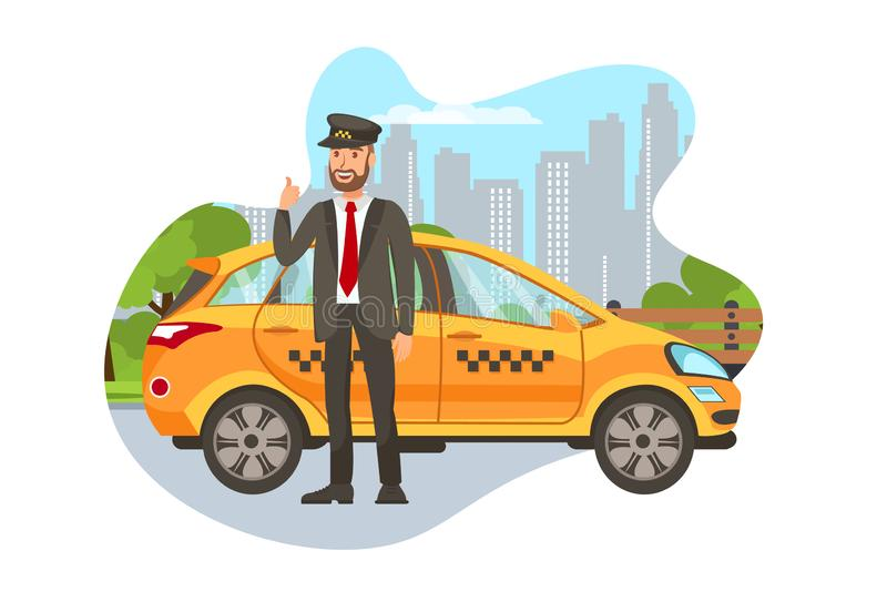 Taxi Driver with Car Isolated Cartoon Character. Happy Cab Driver Standing near Car, Showing Thumbs Up Flat Illustration. Transport Booking. Chauffeur in royalty free illustration