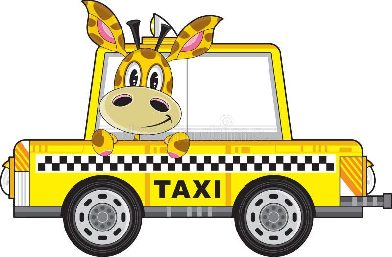 Taxi Driver de la jirafa en taxi amarillo stock de ilustración