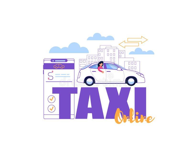 Taxi Driver en línea Application Servicio de la orden stock de ilustración