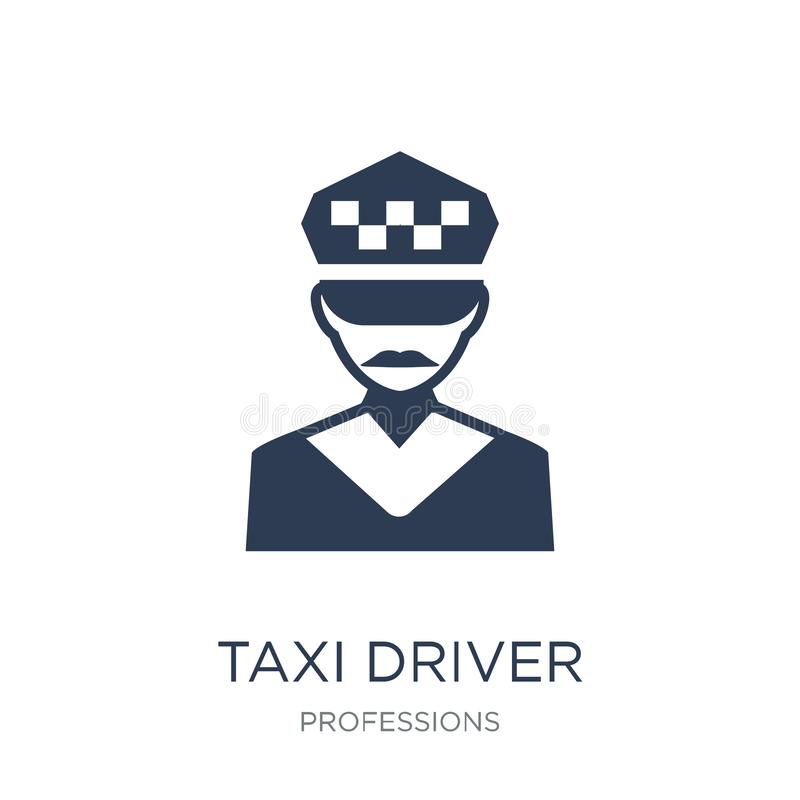 Taxi driver icon. Trendy flat vector Taxi driver icon on white b stock illustration