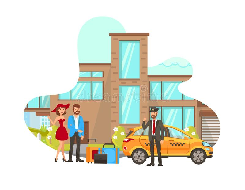 Taxi Driver Meets Clients Vector Illustration. Young Man and Woman with Luggage, Cab Driver Cartoon Characters. Chauffeur Waiting for passengers. Couple Going vector illustration