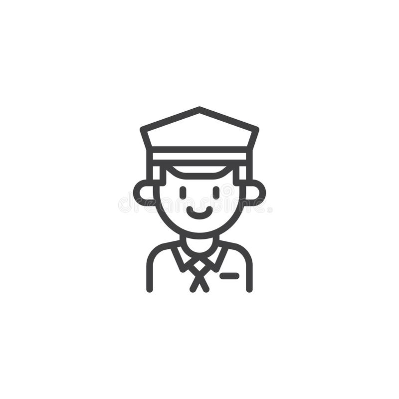 Taxi driver outline icon. Linear style sign for mobile concept and web design. Cab driver in hat simple line vector icon. Symbol, logo illustration. Pixel vector illustration