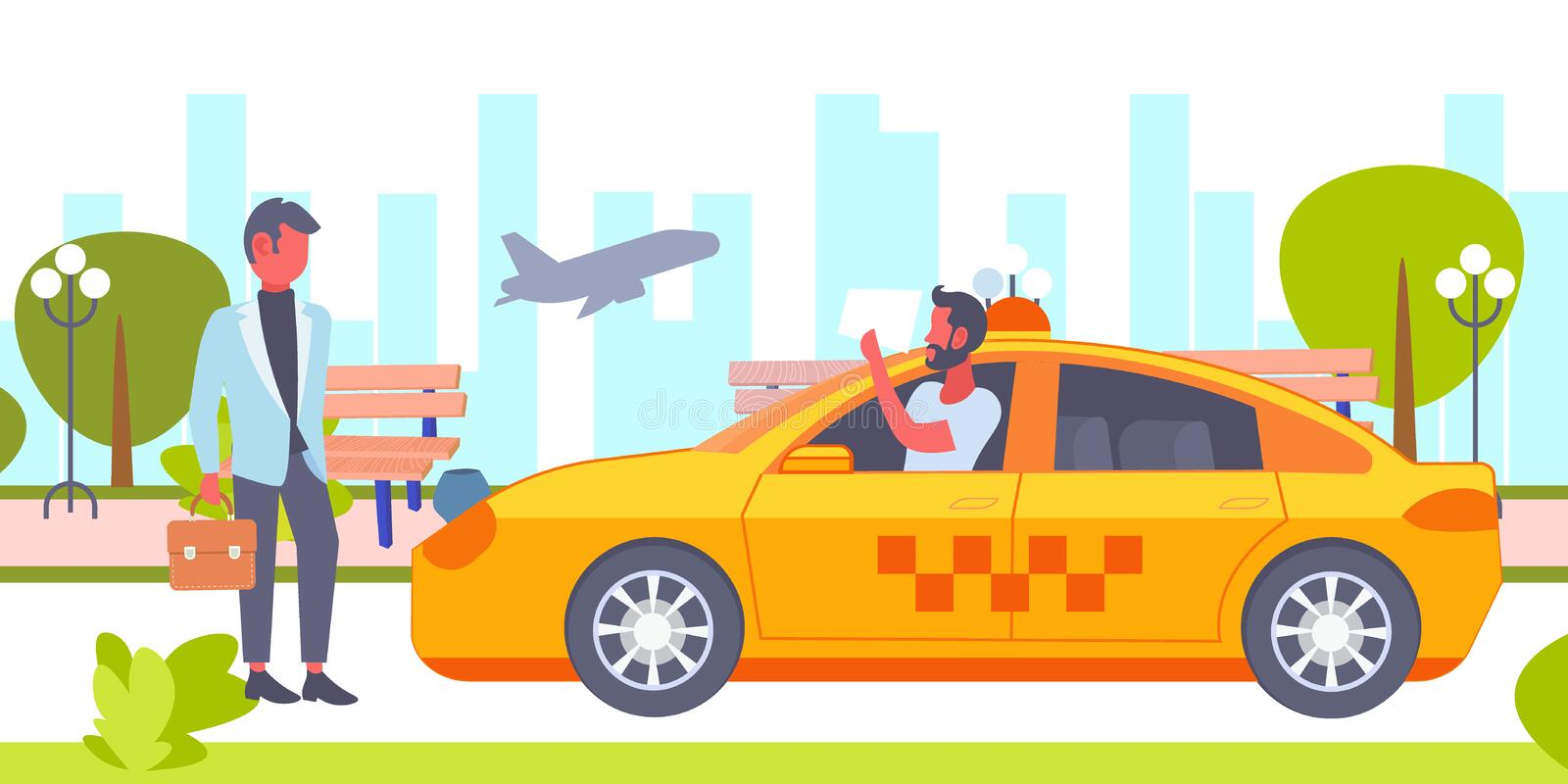 Taxi driver with placard meeting businessman client in airport yellow car cab business company service concept cityscape. Background horizontal vector vector illustration