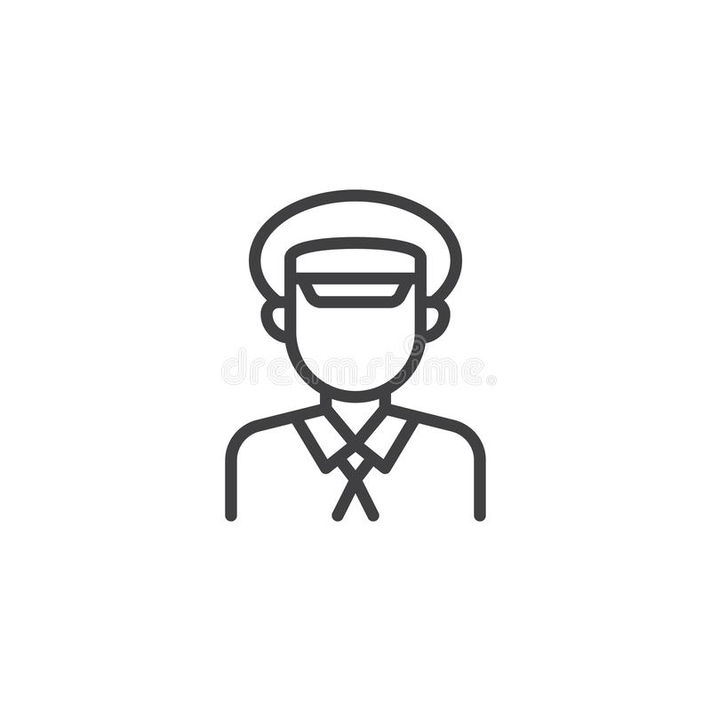 Taxi driver profile line icon. Linear style sign for mobile concept and web design. Cab driver outline vector icon. Faceless people avatar symbol, logo vector illustration
