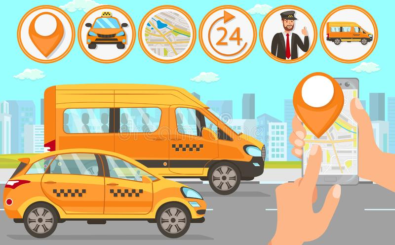 Taxi and Driver Services. Vector Flat Illustration. Taxi and Driver Services in City. Professional in driving. Cab company Business. Car Driver Service and stock illustration