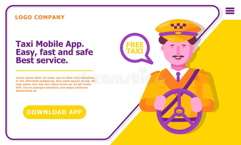 Taxi And Driver Services  Vector Flat Illustration Stock Vector