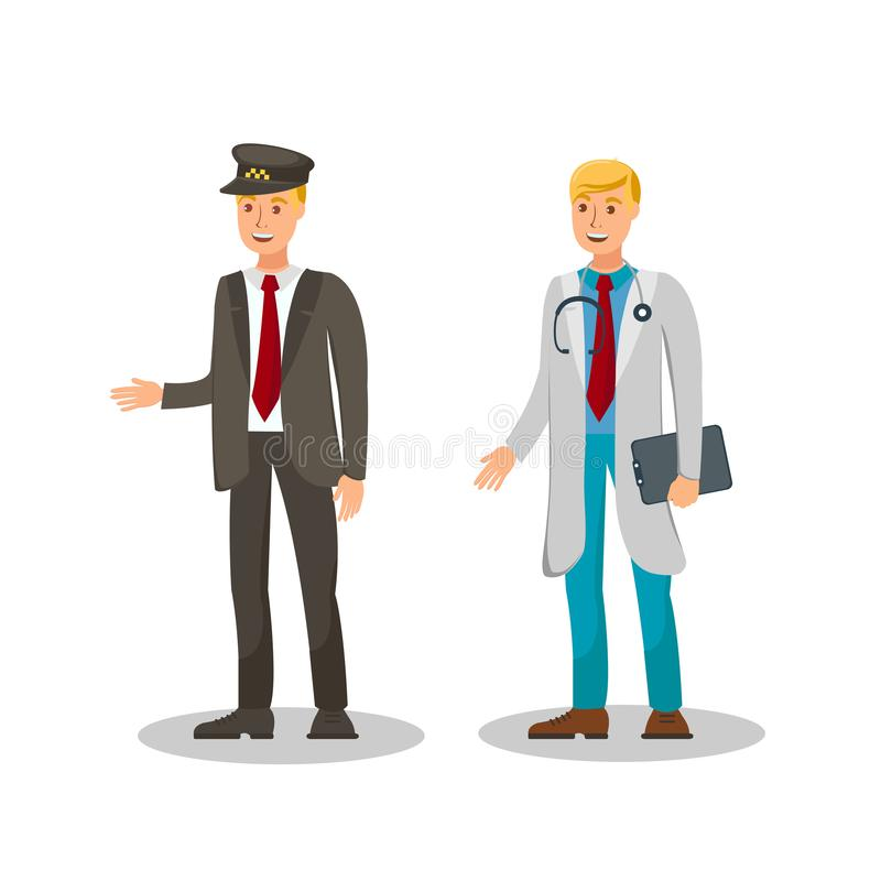 Taxi Driver, Therapeut Flat Vector Illustration royalty-vrije illustratie
