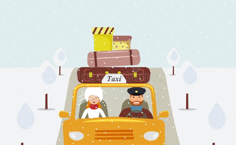 A taxi driver in a uniform cap driving a yellow taxi and a beautiful young woman passenger in a white fur hat and fur coat stock illustration