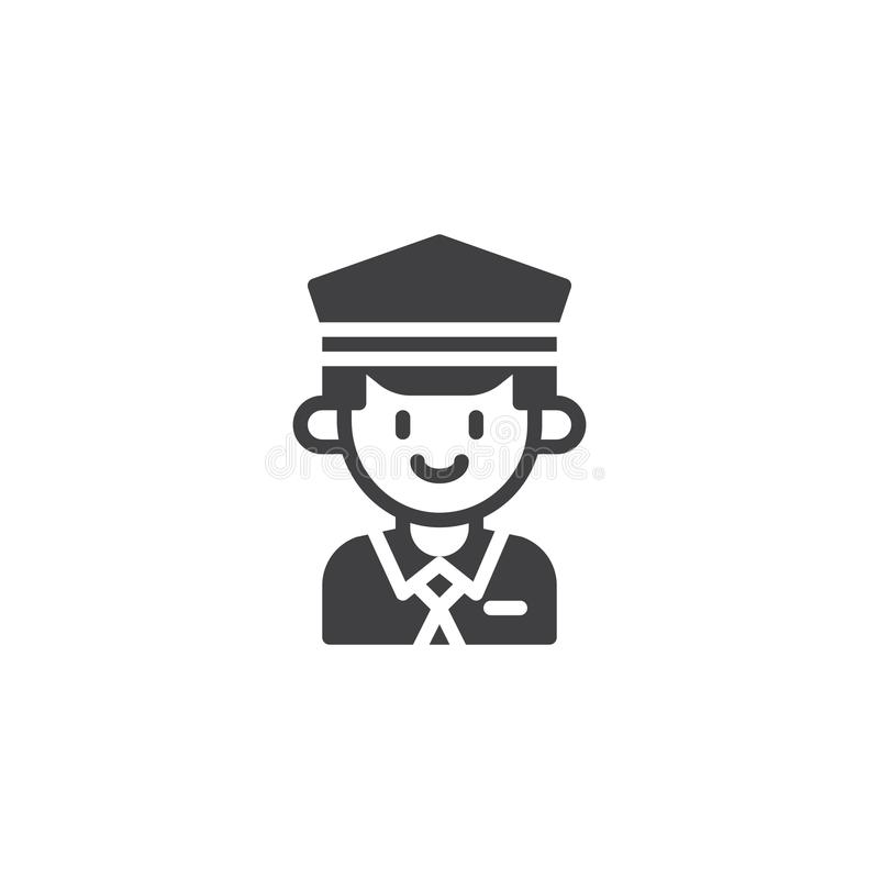 Taxi driver vector icon. Filled flat sign for mobile concept and web design. Cab driver in hat simple solid icon. Symbol, logo illustration. Pixel perfect royalty free illustration