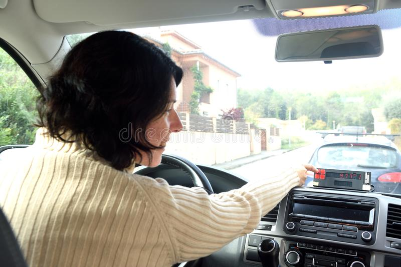 A taxi driver woman stock photography
