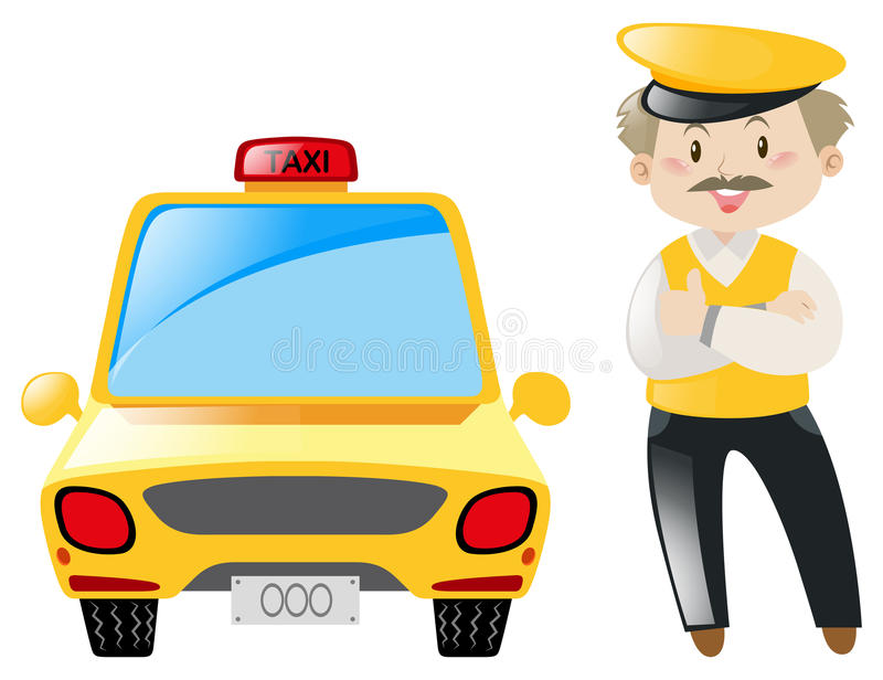 Taxi driver and yellow cab. Illustration stock illustration