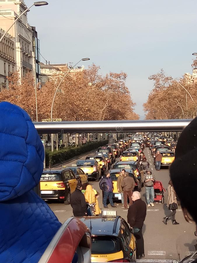 Taxi drivers` protest in Barcelona royalty free stock photos