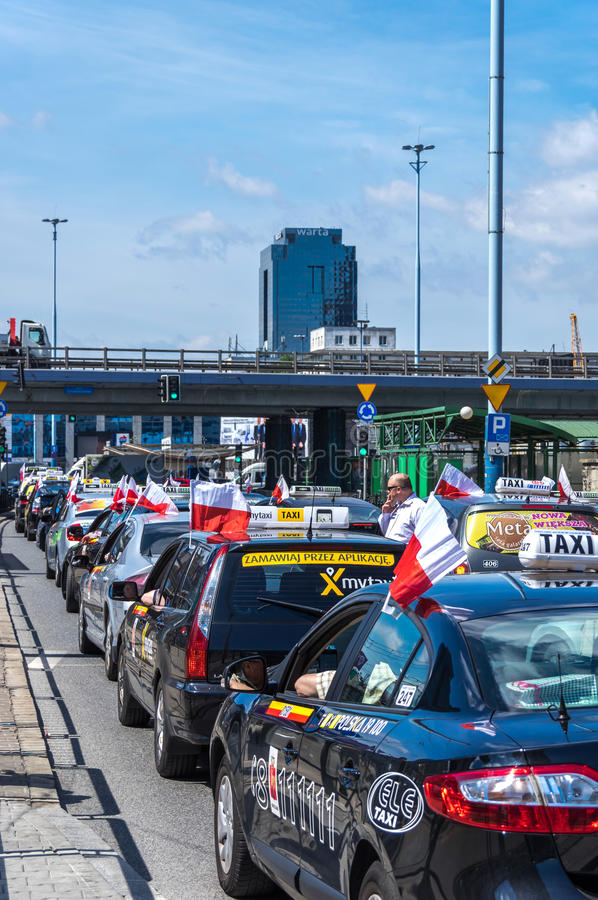 Taxi drivers protest stock photos