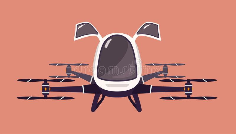 Taxi drone or passenger quadcopter. Flying futuristic rotor vehicle. Modern unmanned electric aircraft or automated stock illustration