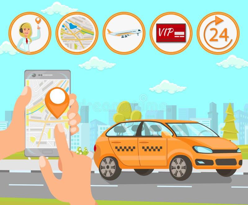 Taxi en Bestuurder Services Vector vlakke illustratie royalty-vrije illustratie