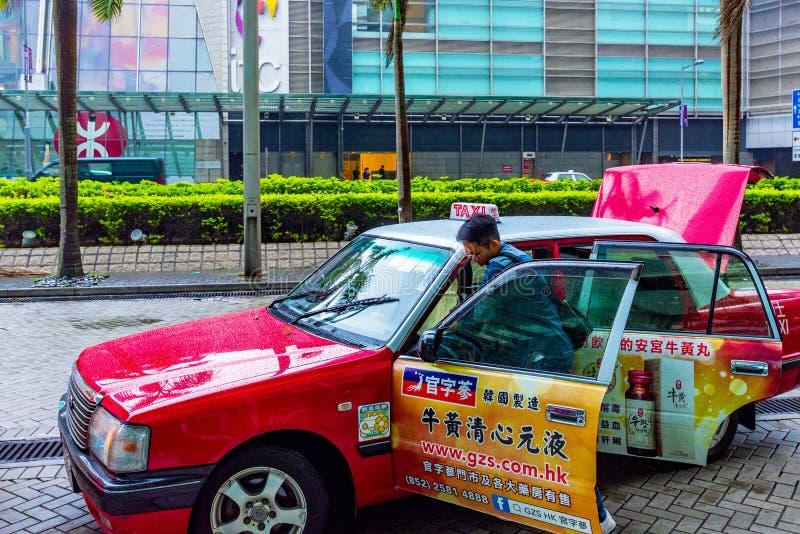 Taxi en dehors de station de Hong Kong images stock
