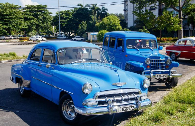 Taxi en la ciudad vieja - La Habana, Cuba del vintage foto de archivo libre de regalías