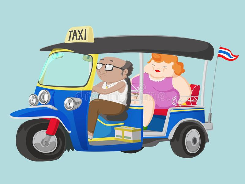 Taxi för TUK-TUK Thailand med chauffören och passageraren vektor illustrationer