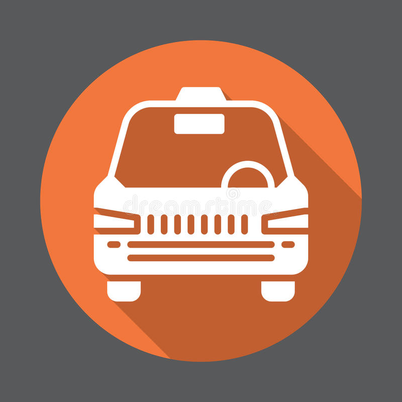 Taxi flat icon. Round colorful button, circular vector sign with long shadow effect. Flat style design. stock illustration