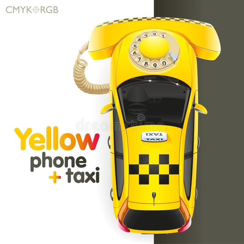Taxi-gelbes Telefon lizenzfreie abbildung