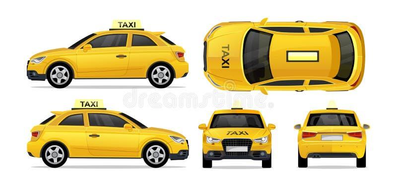 Taxi gele auto met kant, voorzijde, rug en bovenkant De taxipictogram van het stadsvervoer voor mobiel, Web, bevorderingen wordt  vector illustratie