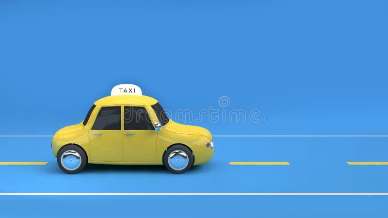 Taxi giallo sul fondo blu 3d della strada rendere illustrazione di stock