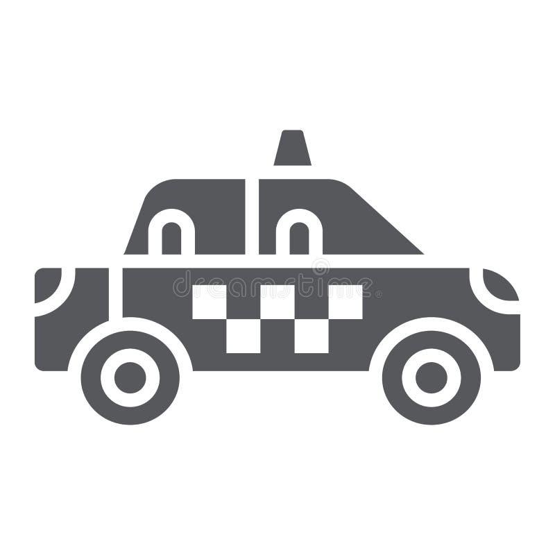 Taxi glifu ikona, transport i samochód, taksówka znak, wektorowe grafika, bryła wzór na białym tle ilustracja wektor