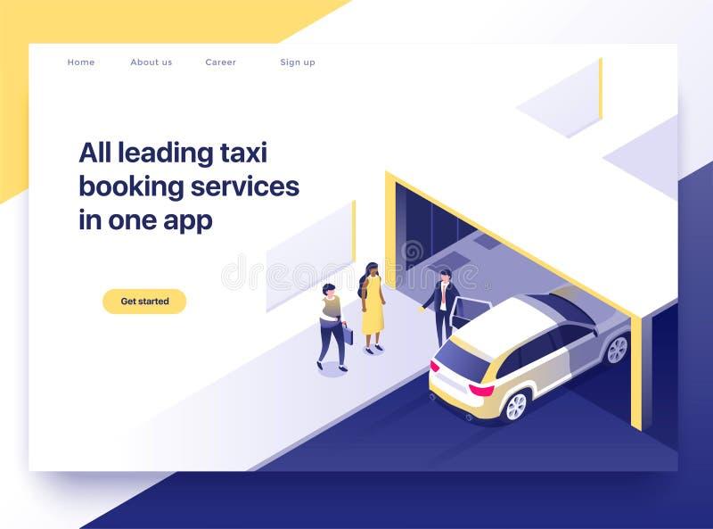 Taxi het boeken toepassingsconcept Bedrijfsmensen die een taxi krijgen die een smartphone gebruiken Het landen isometrisch pagina royalty-vrije illustratie