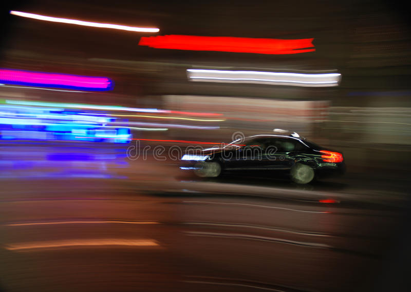 Taxi at high speed stock photography