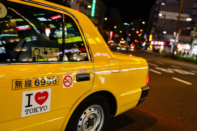 Taxi i Tokyo, Japan arkivfoton