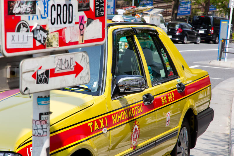 Taxi i tokyo Japan arkivbild