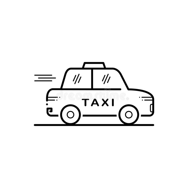 Black line icon for Taxi, cab, car and transport vector illustration