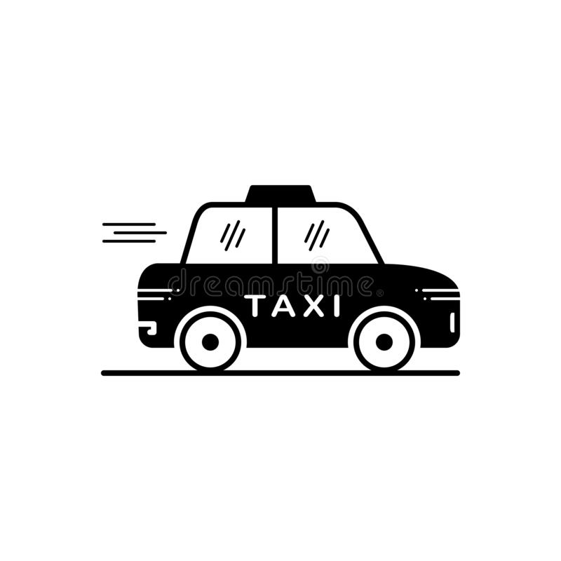 Black solid icon for Taxi, cab and transport vector illustration