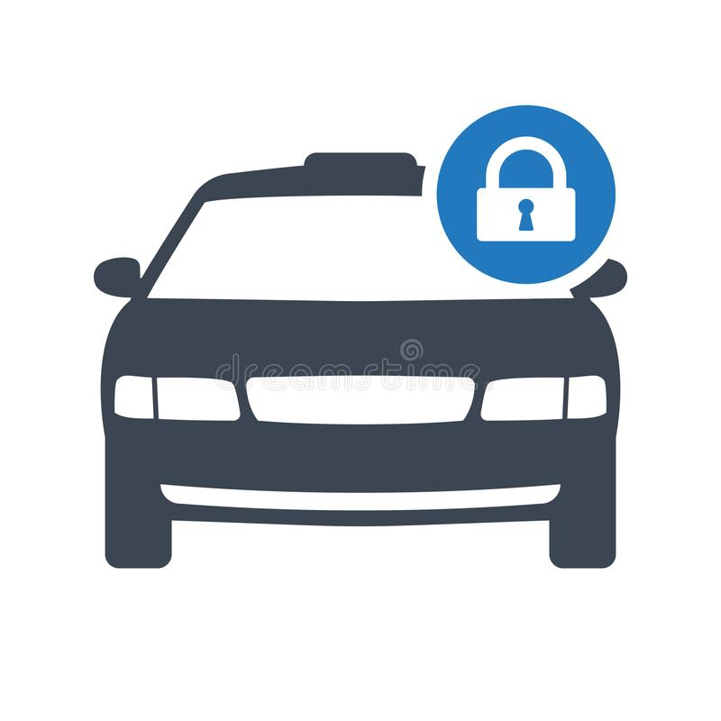 Taxi icon, transportation, taxi cab, travel concept icon with padlock sign. Taxi icon and security, protection, privacy symbol vector illustration