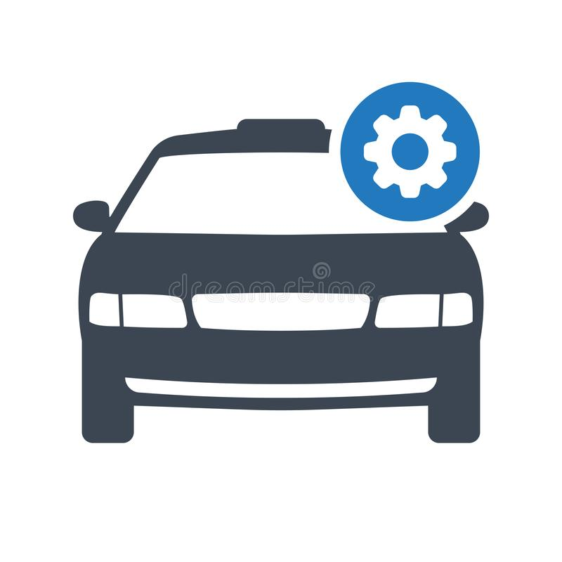 Taxi icon, transportation, taxi cab, travel concept icon with settings sign. Taxi icon and customize, setup, manage, process symbol stock illustration